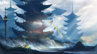 город, дракон, туман