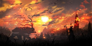 фэнтези, существа, закат