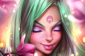 фэнтези, девушки, девушка, лицо, цветок, ресницы, арт, губы