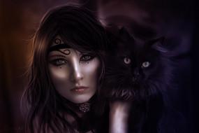 фэнтези, девушки, кот, девушка