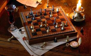 свеча, вино, игра, шахматы, часы