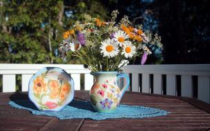 цветы, букеты,  композиции, кувшин, букет, ромашки
