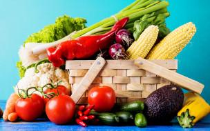 овощи, корзина, зелень