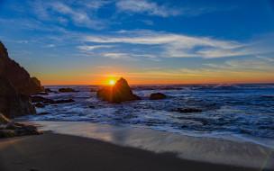 пляж, побережье, закат