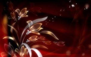 векторная графика, цветы , flowers, графика, цветы, боке, фрактал, текстура, фон, листья