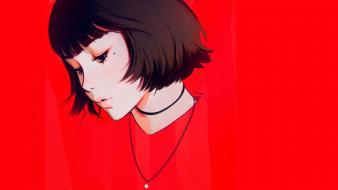 стрижка, губки, портрет девушки, лицо, цепочка на шее, красный фон, родинка, челка, Илья Кувшинов