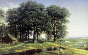обои для рабочего стола 1920x1200 рисованное, михаил клодт, картина, пейзаж, река, дубовая, роща, деревья, михаил, клодт, дом