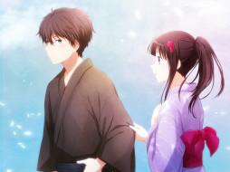 аниме, hyouka, парень, фон, взгляд, девушка