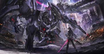 обои для рабочего стола 2863x1500 аниме, оружие,  техника,  технологии, девушка, робот
