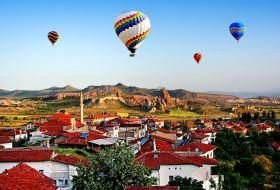 полет, воздушные, шары, город, горы