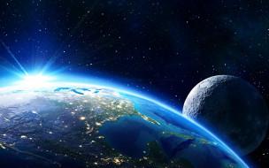 Планета земля с луной в звездном космосе