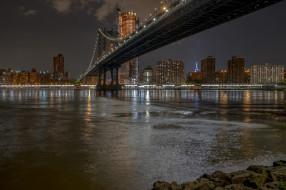 ночь, огни, река, мост