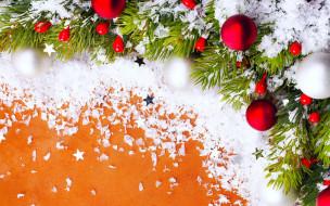 red, Новый Год, snow, Merry Christmas, star, Christmas, звезда, красный, снег, белый, елка, Christmas tree, шары, Рождество, украшения