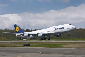 Boeing 747, самолёт, пассажирский, взлёт