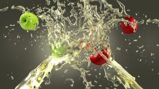 всплеск, брызги, сок, яблоки