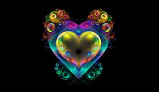 3д графика, абстракция , abstract, сердце, фрактал, фон, пузыри