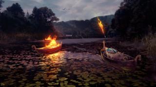 фэнтези, иные миры,  иные времена, стрела, воин, ритуал, лодка