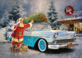 подарки, автомобиль, зима, снег, санта клаус, праздник, ретро, дед мороз