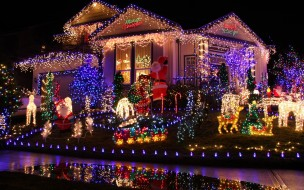 праздничные, новогодние пейзажи, иллюминация, дом