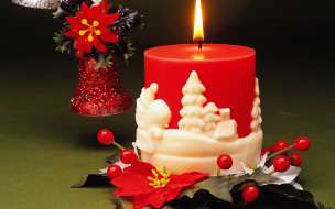 праздничные, новогодние свечи, колокольчик, свеча, огонек