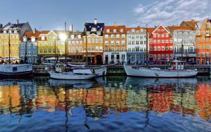 города, копенгаген , дания, дома, канал, лодки