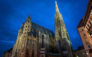 города, вена , австрия, собор, шпиль