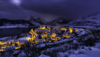 города, - огни ночного города, горы, зима, вечер, огни