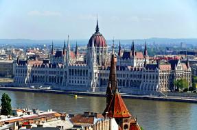 города, будапешт , венгрия, парламент, река