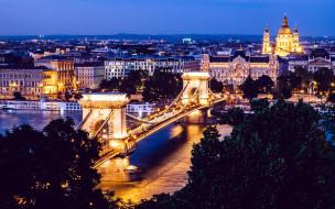города, будапешт , венгрия, мост, река, вечер