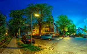 вечер, пригород, улица