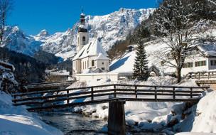 река, костел, мост, зима, снег