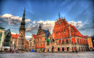 города, рига , латвия, здания, площадь, туристы, старинные