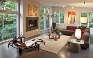 интерьер, комната, камин, гостиная