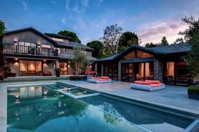 бассейн, вилла, дом, вечер, дизайн, деревья