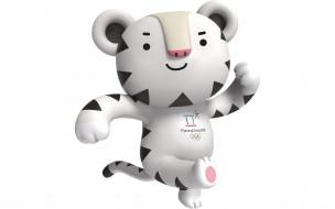 спорт, логотипы турниров, белый, тигр, сухоран, талисман, зимних, олимпийский, игр, 2018, на, белом, фоне