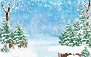 блики, снежинки, деревья, арт, зима, боке, снег, сугробы, лес, олени