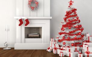 венки, елки, Рождество, ленты, украшения, звезды, носки, элементы дизайна, цветные шары, маленькие подарки, подарочные коробки, камин