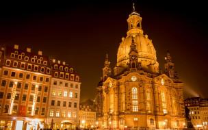 Германия, огни, церковь, Фрауэнкирхе, Дрезден