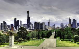 города, мельбурн , австралия, небоскребы, сквер