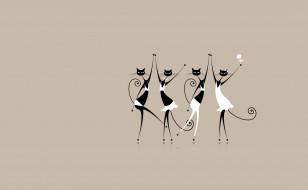 арт, праздник, танец, вектор, кошка