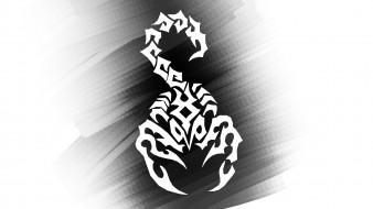 рисованное, минимализм, тату, Черно, -, белое, скорпион