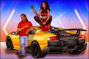 взгляд, мужчина, фон, гитара, автомобиль, девушка