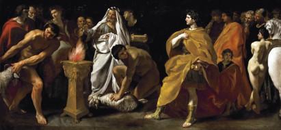 рисованное, живопись, картина, джованни, ланфранко, торжественное, жертвоприношение, римского, императора