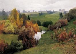 рисованное, живопись, овраг, пейзаж, андрей, шильдер, масло, природа, картина, холст