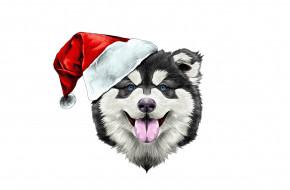рисованное, животные,  собаки, happy, santa, claus, 2018, собака, счастье, шапка, new, year, новый, год, dog, шляпа, праздник