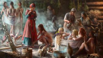 рисованное, живопись, баня