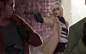 Lorraine Broughton, блондинка, арт, мужчины, Atomic Blonde, девушка, убийца, глушитель, Charlize Theron, пистолет