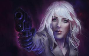 девушка, Atomic Blonde, art, пистолет, Charlize Theron, Lorraine Broughton, взгляд, блондинка