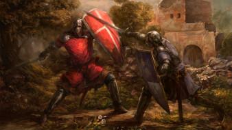 фэнтези, люди, щит, меч, рыцари