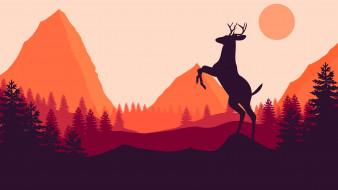 векторная графика, животные , animals, горы, олень